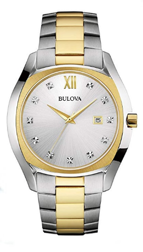 98D125 7100 Bulova Classic Diamond Two-Tone Stainless Steel Watch - Bulova Replacement Watch Band